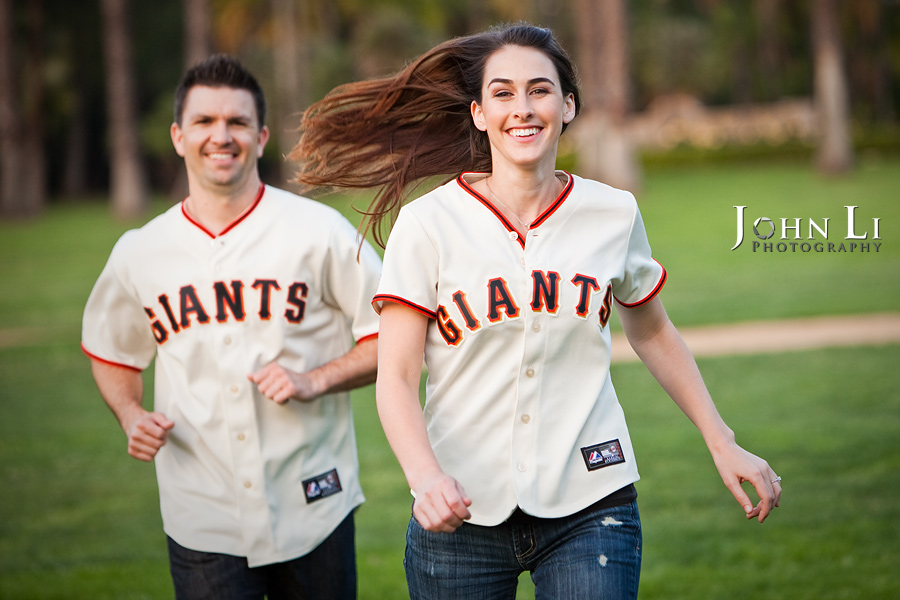 engagement photography in baseball uniform Lacy Park