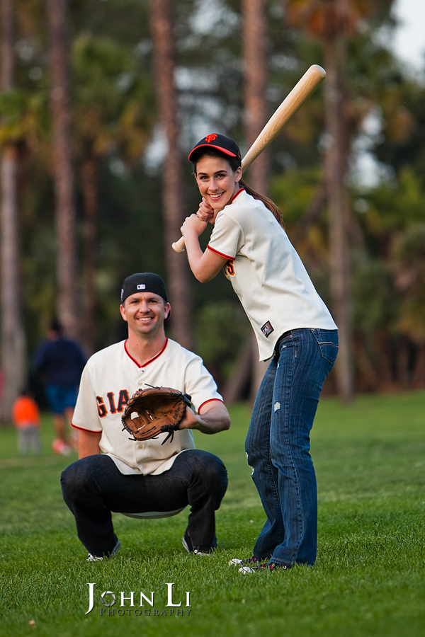 baseball style engagement session photography San Marino