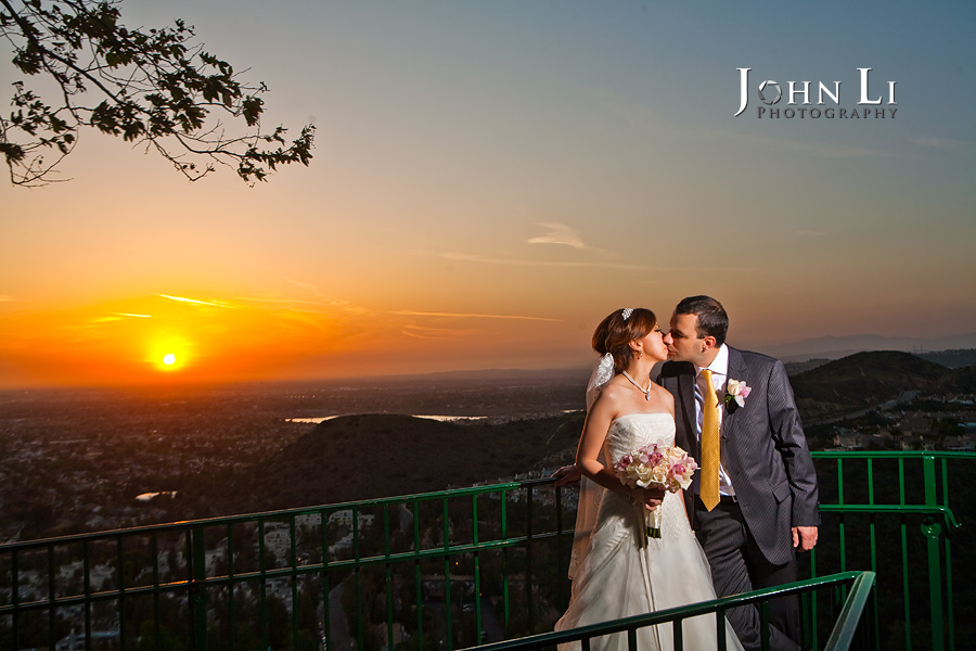 Bridal portrait under sunset from Orange Hill