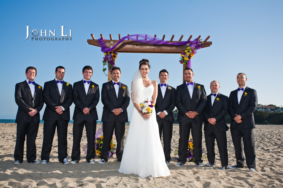 bride and groomsmen in Leadbetter beach wedding