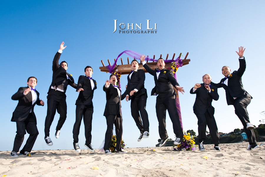 Groomsmen group  photos in Leadbetter beach jumping