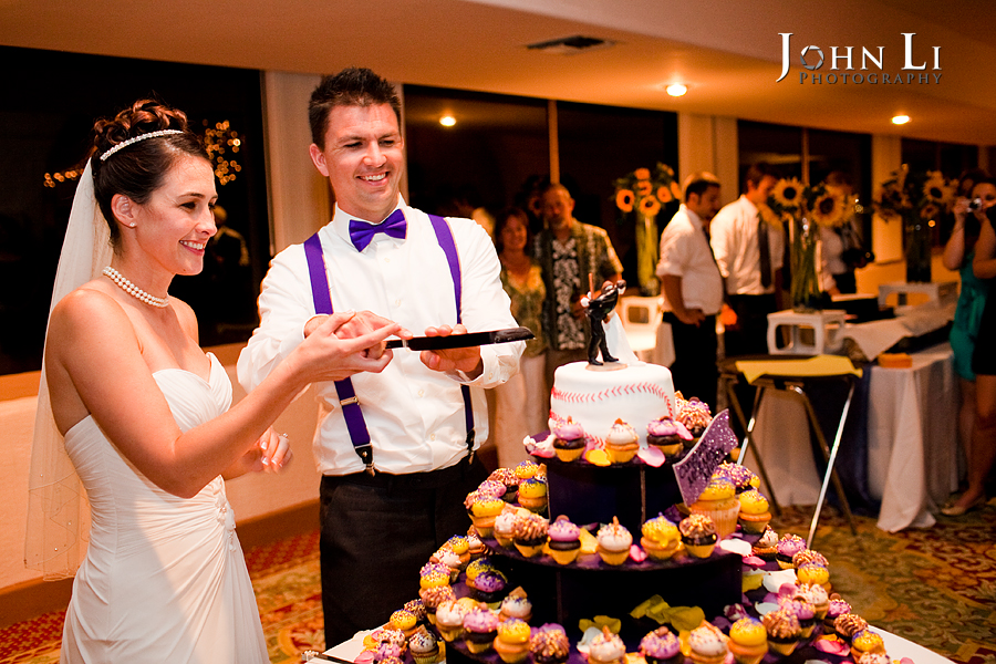 cake cutting in cabrillo pavilion arts center wedding reception