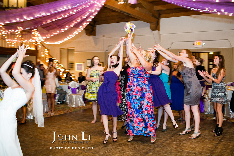 bouquet toss Santa Barbara wedding reception