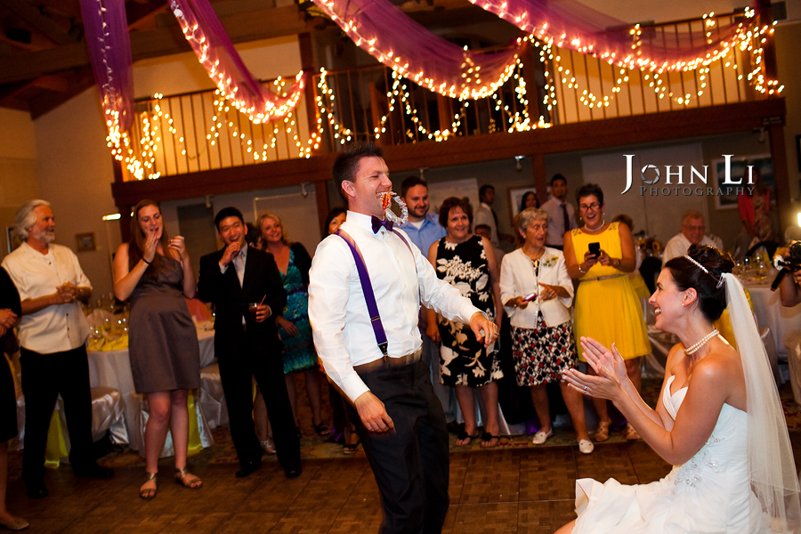 garter toss in cabrillo pavilion arts center wedding