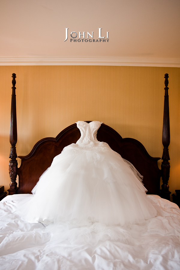 03 wedding gown in bed langham pasadena