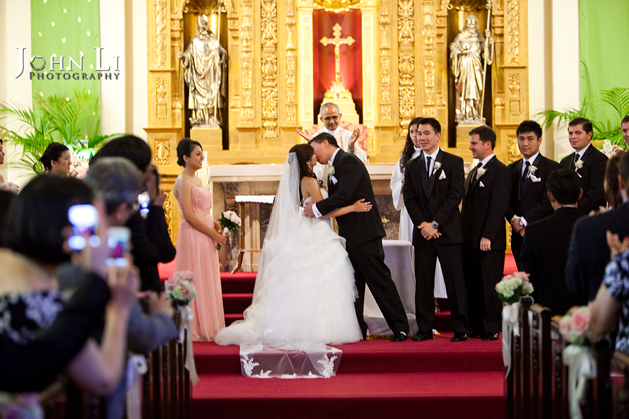 Holy Family Church South Pasadena groom kiss the bride