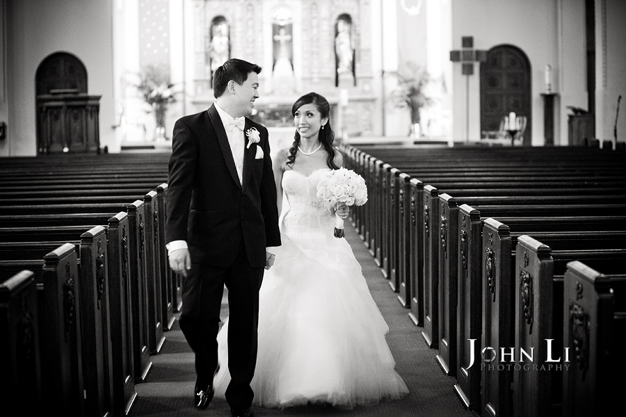 bride and groom in Holy Family Church South Pasadena