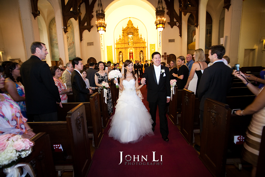 Holy Family Church South Pasadena wedding cereomony bride and groom