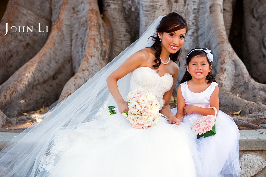outside Holy Family Church South Pasadena bride and flower girl