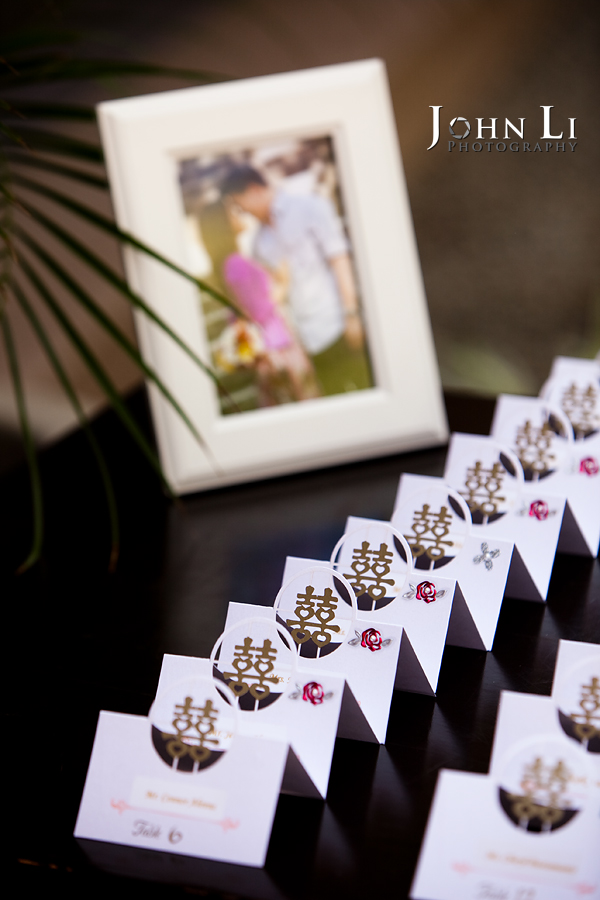 name tags with Double Happiness in Langham Hotel Pasadena