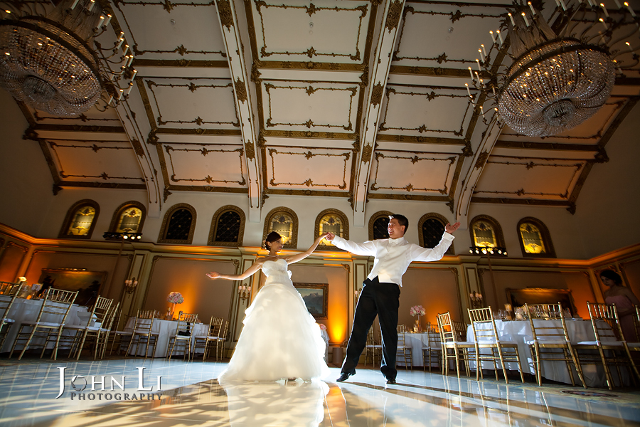 bride and groom dance in Langham Hotel ballroom