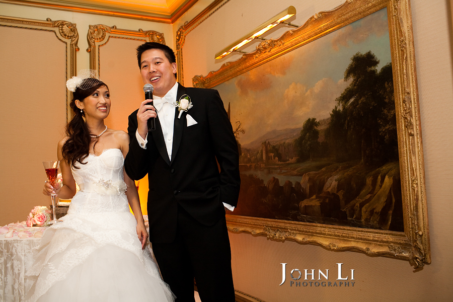 bride and groom speech in langham hotel wedding