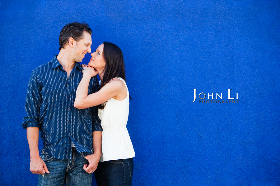 Venice Beach engagement image in blue background