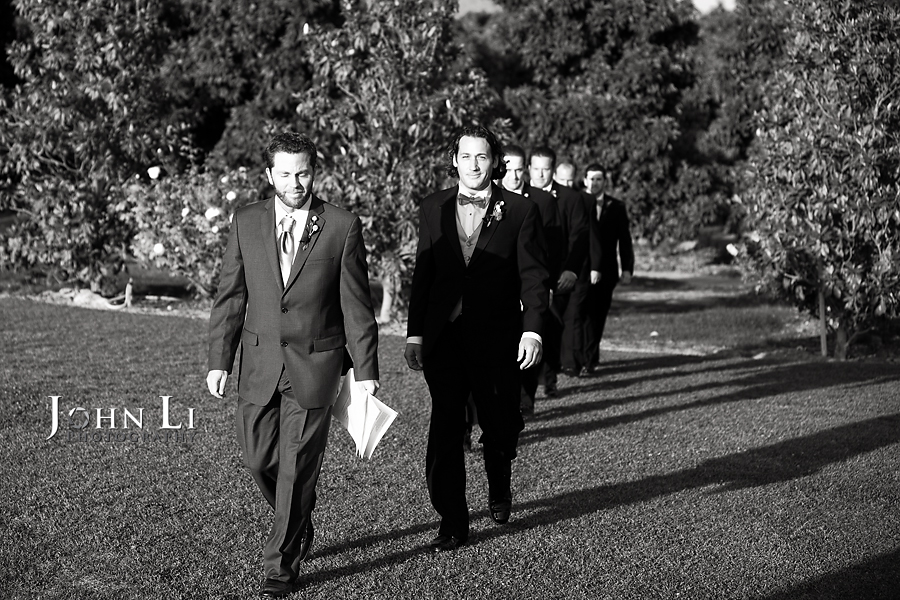 Limoneira Ranch Wedding ceremony groom walk in