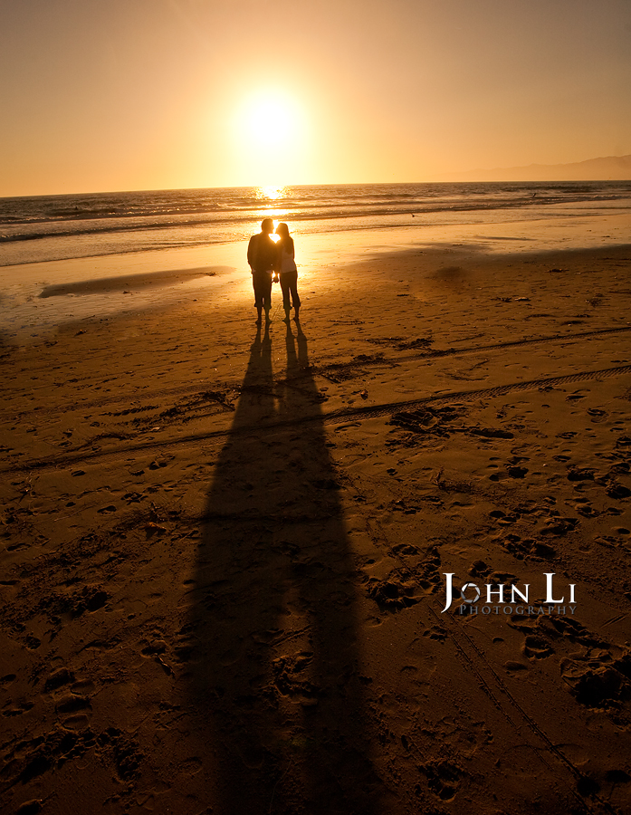 Venice beach sunset engagement photos