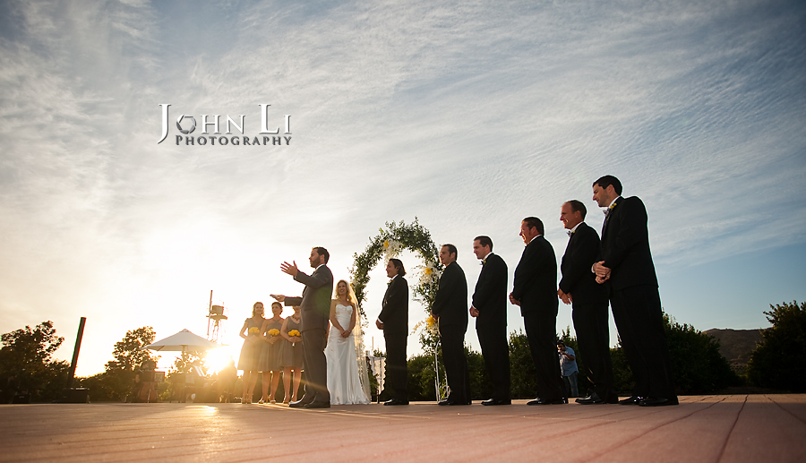 Limoneira Ranch Wedding ceremony under the sunset