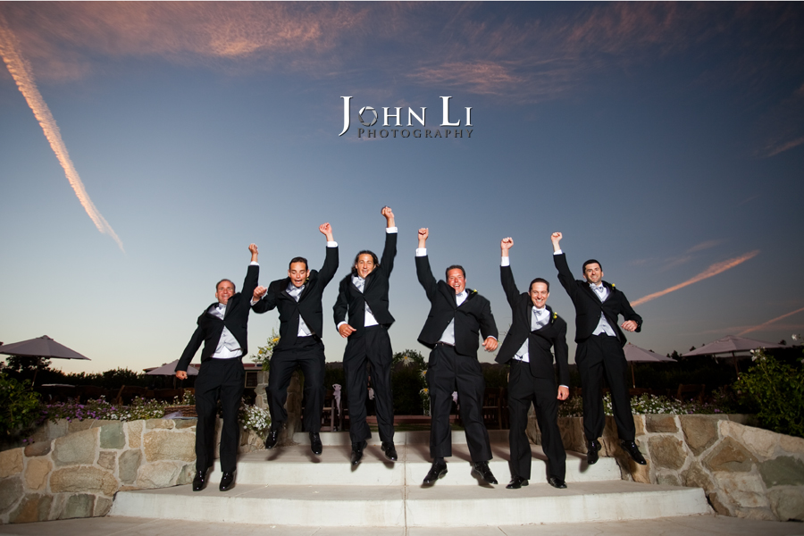 Limoneira Ranch Wedding groommen jumped