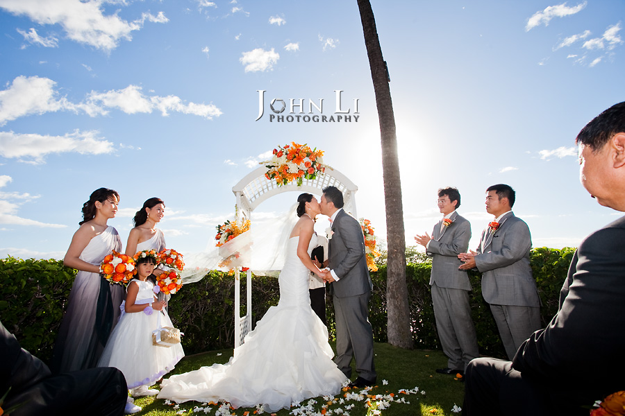 Maui Sheraton wedding in Hawaii bride and groom in wedding ceremony