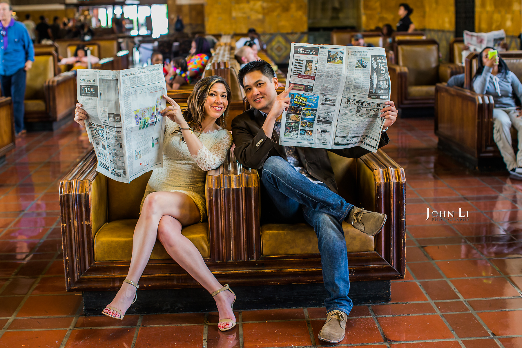 Los Angeles Downtown Engagement Union Station wedding