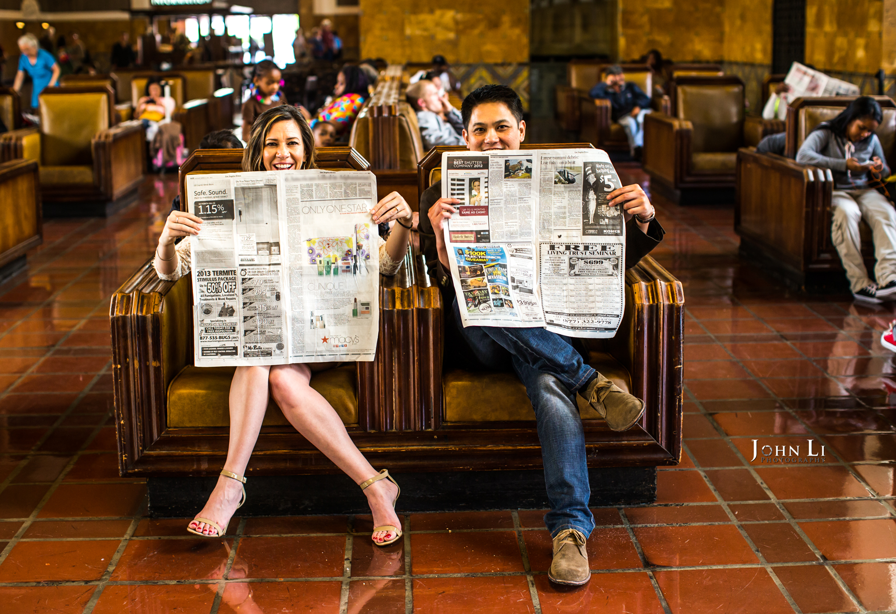 Los Angeles Downtown Engagement session in Union Station